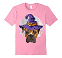 Boxer Witch Hat Funny Halloween Gifts Dog Lover Girls T-shirt Light Pink
