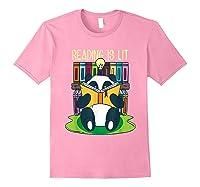 Reading Is Lit Panda Bear Funny English Tea Tee T Shirt Light Pink