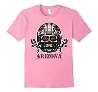 Arizona Football Helmet Sugar Skull Day Of The Dead T Shirt Light Pink