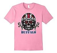 Buffalo Football Helmet Sugar Skull Day Of The Dead T Shirt Light Pink