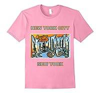Lotta Shirts New York City Ny Postcard Greetings T Shirt Light Pink