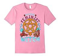 Radical Feminist Witch Pentagram Wiccan Resist Impeach T Shirt Light Pink