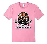 Cincinnati Football Helmet Sugar Skull Day Of The Dead T Shirt Light Pink