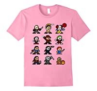 Friends Pixel Halloween Icons Scary Horror Movies Shirts Light Pink