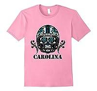 Carolina Football Helmet Sugar Skull Day Of The Dead T Shirt Light Pink