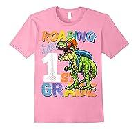 Roaring 1st Grade Dinosaur Back To School Backpack Shirt Boy Light Pink