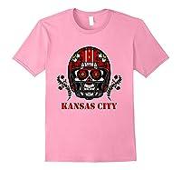 Kansas City Football Helmet Sugar Skull Day Of The Dead T Shirt Light Pink