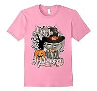 Happy Halloween Cute Cat In Witch Hat Pumpkin Spooky Novelty T Shirt Light Pink
