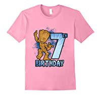 Guardians Of The Galaxy Baby Groot 7th Birthday Shirts Light Pink