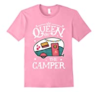 Queen Of The Camper Outdoor Camping Camper Girls Shirts Light Pink