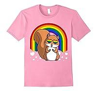 Squirrel Gay Pride Rainbow Q Cute Gift Shirts Light Pink