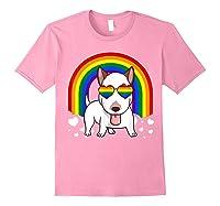 Bull Terrier Dog Gay Pride Rainbow Q Cute Gift Shirts Light Pink