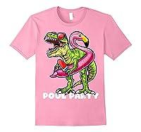 Pool Party T Rex Dinosaur Flamingo Float Summer Gift Shirts Light Pink