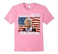 John Mccain American Hero Retro Flag Usa Shirts Light Pink