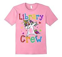 Library Crew Dabbing Unicorn 1st Day Of School Shirts Light Pink