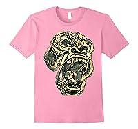 Angry Great Ape Art T-shirt Fierce Silverback Gorilla Face Light Pink