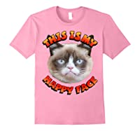 Grumpy Cat This Is My Happy Face Graphic Shirts Light Pink