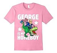 George Washington Is My Homeboy T Rex Dinosaur 4th Of July Shirts Light Pink