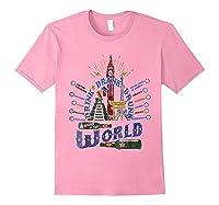 Adult Vacation Drinking Tshirt Drink Around World Theme Park Light Pink