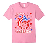 Festive 4th Of July, Independence Day Design Shirts Light Pink