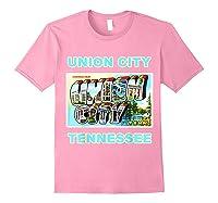 Lotta Shirts Union City Tennessee Postcard Greeting T Shirt Light Pink
