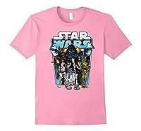 S Classic Comic Art Group Shot Darth Vader Shirts Light Pink