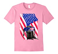 Vintage Great Dane Dog American Usa Flag Distressed Shirts Light Pink
