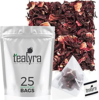 Tealyra - Pure Hibiscus Herbal Tea - 25 Bags - Loose Leaf - Organically Grown - Vitamins Rich Tea - Caffeine Free - Pyramids Style Sachets