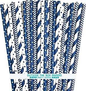 Paper Straws - Navy Blue and White - Stripe Chevron Polka Dot - 7.75 Inches - 100 Pack - Outside the Box Papers Brand