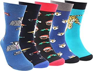 Pomlia® Mens 5 Pack Animal Collection Socks - Funky Colorful Patterned Luxury Design Rich Cotton Comfort Dress Calf Socks