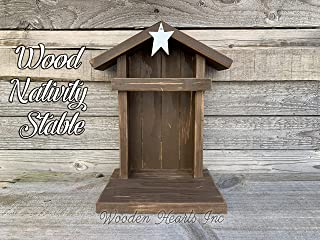 STABLE CRECHE Fits Willow Tree Nativity Fireplace Mantle WOOD *Lighted Christmas Decor Personalized Baby Manger Angel Stand Lights Antique White Brown