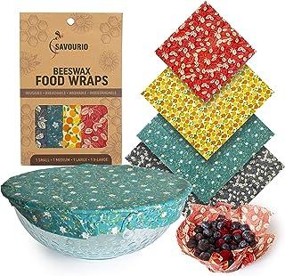 Reusable Beeswax Wrap - Biodegradable Beeswax Food Wraps - Reusable Food Wrap - Organic Beeswax Paper Food Wrap - Reusable...