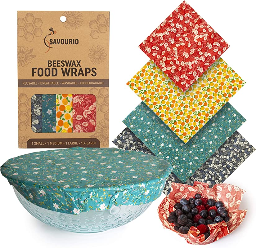Savourio Reusable Beeswax Food Wrap Eco Friendly Organic Biodegradable Sustainable Food Storage Wrappers Alternative To Plastic Bags Beeswax Cloth Organic Beeswax Wraps Cling Sandwich
