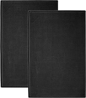 S&T INC. Heavy-Duty Rubber Bar Service, Coffee Bar, or Countertop Spill Mats, 11.9 Inch x 17.8 Inch, Black, 2PK