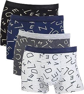 Aulens 4 Sizes Underwear for Men, Cotton Mid-Rise Boxer Briefs for Men