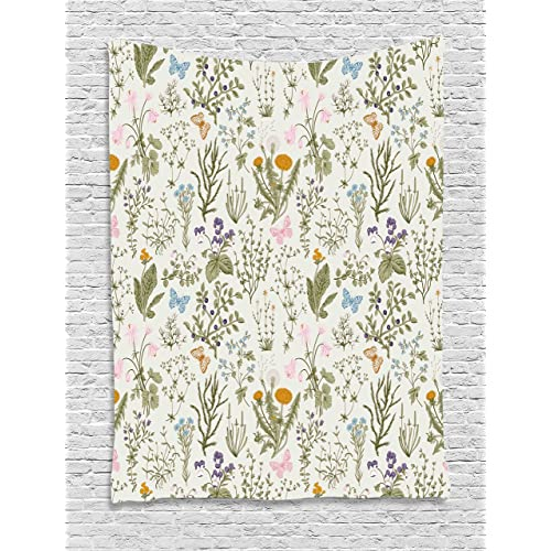 7cd4ddf5 Ambesonne Floral Tapestry, Vintage Garden Plants with Herbs Flowers  Botanical Classic Design, Wall Hanging