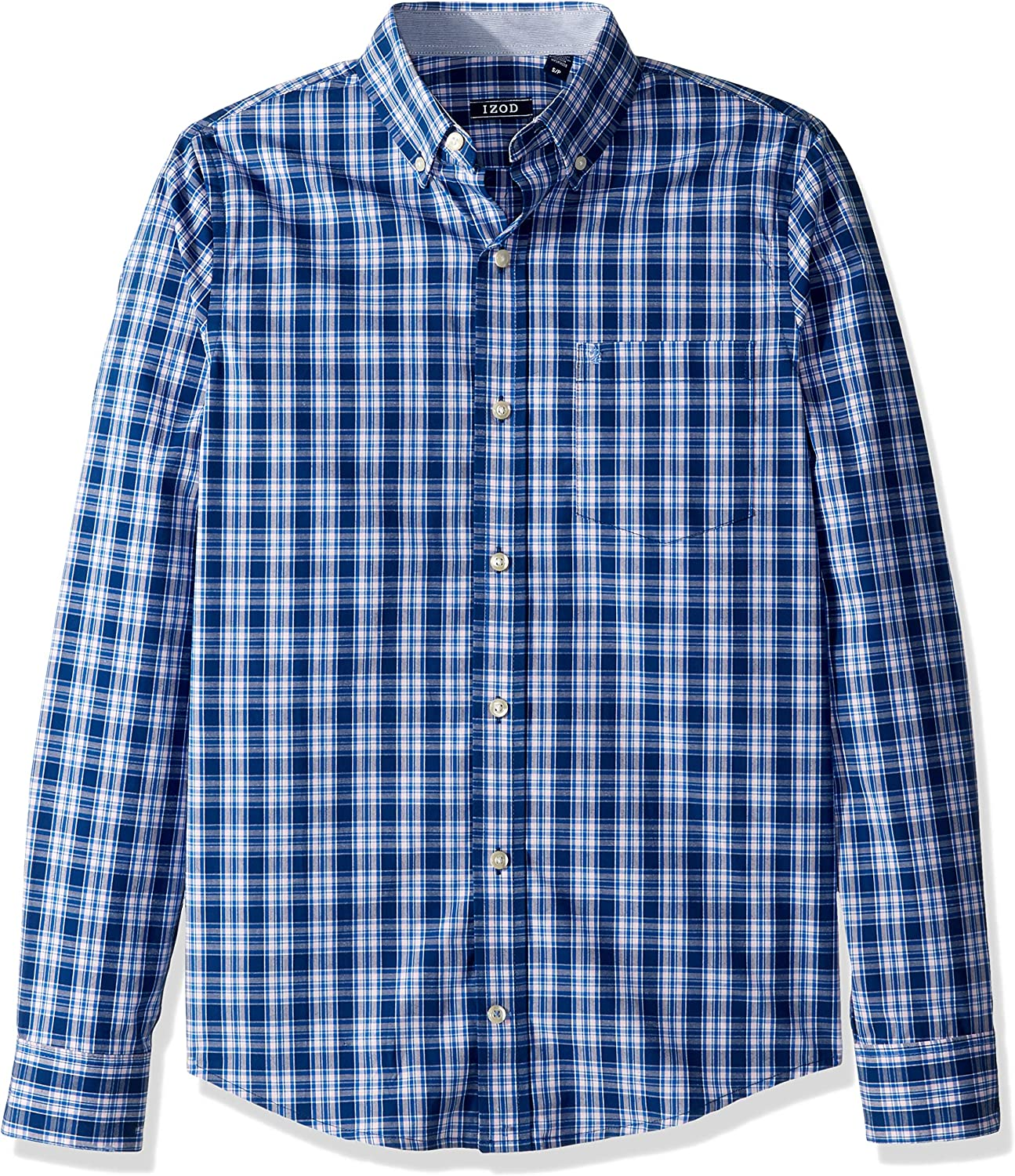 IZOD Men's Slim Fit Button Down Long Sleeve Stretch Performance Plaid Shirt (Discontinued)