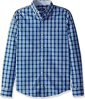 Men's Slim Fit Button Down Long Sleeve Stretch Performance Plaid Shirt