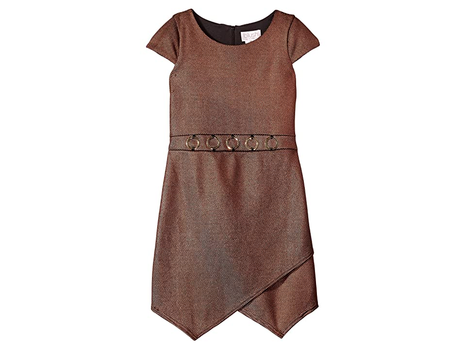 Us Angels Textured Foil Knit Cap Sleeve Dress (Copper) Girl