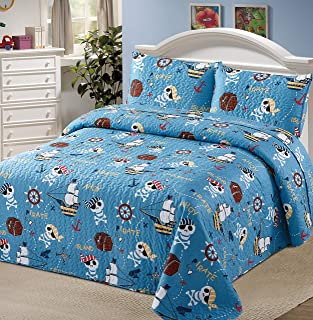 Better Home Style Ahoy Pirate World Kids/Boys/Toddler Coverlet Bedspread Quilt Set with Pillowcases and Canon Anchor Pirate Ship Skull Hook Map and Treasure Designs # 2019162 (Twin)