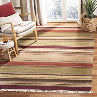 Safavieh Striped Kilim Collection STK313A Hand Woven Red Premium Wool Area Rug (9' x 12')