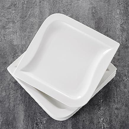 Preisvergleich für MALACASA, Serie Joesfa, 12 teilig Set Cremeweiß Porzellan Flachteller Speiseteller Essteller 10,25 Zoll / 26x26x2,5 cm für 12 Personen