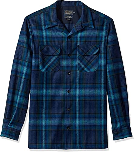 Pendleton Hommes's Fitted manche longue Board Shirt, bleu Teal Ombre, MD
