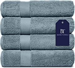 Banio Towels Bath Towel Sets 4 Pieces Gray Blue 100% Turkish Cotton Luxury Quick Dry Towels for Bathroom, Guests, Hot Tub ...