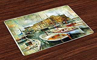 Ambesonne Marine Place Mats Set of 4, Naples Small Boats at Historical Italian Coast with Heritage Castle Nautical Artwork, Washable Fabric Placemats for Dining Room Kitchen Table Decor, Earth Yellow