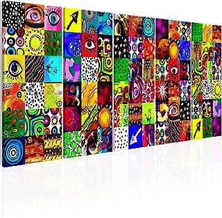 murando Impression sur Toile intissee Abstrait en Couleurs 200x80 cm Tableau 5 Parties Tableaux Decoration Murale Photo Im...