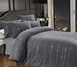 Teddy Bear BLING Diamante Fleece Duvet Cover with Pillow Case Thermal Warm Soft Cozy Bedding Bed Set (Grey, Super King)