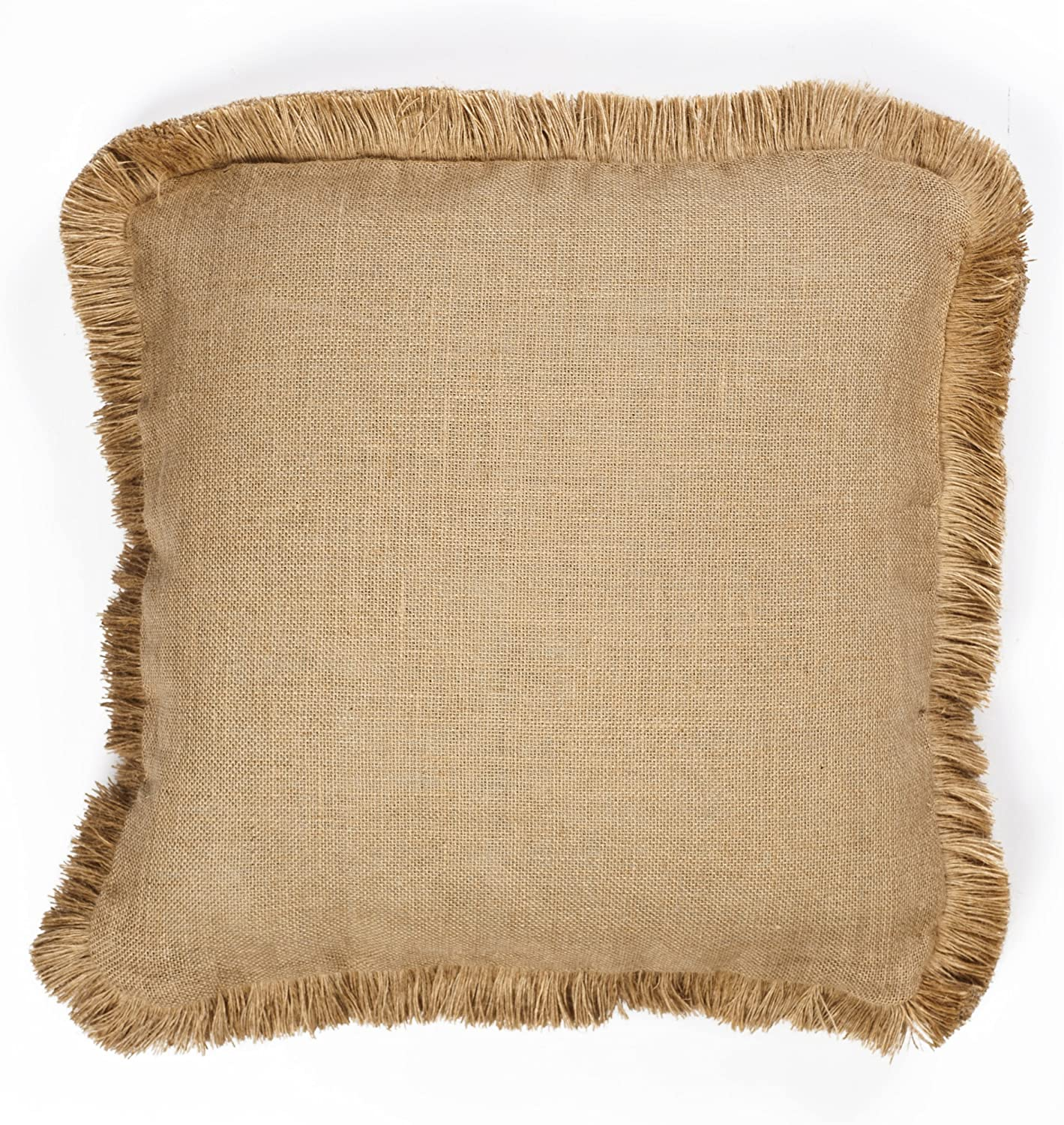 Zentique No Print Square Burlap Pillow with Jute Brush Fringe, 20-Inch, Natural