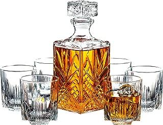 Paksh Novelty 7-Piece Italian Crafted Glass Decanter & Whisky Glasses Set, Elegant..