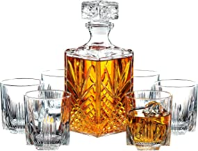 Paksh Novelty 7-Piece Italian Crafted Glass Decanter & Whisky Glasses Set, Elegant Whiskey Decanter with Ornate Stopper and 6 Exquisite Cocktail Glasses